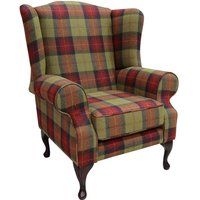 Chesterfield Frederick Wool Wing Chair Fireside High Back Armchair Fruit Salad Check Tweed