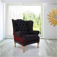 Designer Sofas 4 U - Chesterfield Frederick Wool Wing Chair Fireside High Back Armchair Skye Red Check Tweed