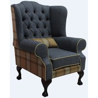 Designer Sofas 4 U - Chesterfield Frederick Wool Wing Chair Fireside High Back Armchair Skye Sage/Grey Check Tweed