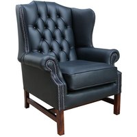 Chesterfield Georgian High Back Wing Chair Black Leather - DESIGNER SOFAS 4 U