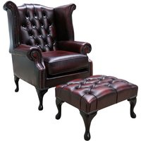 Chesterfield Georgian Queen Anne Wing Chair Antique Oxblood Red Leather + Footstool