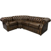 Chesterfield Graham Corner Sofa Unit 2 + C + 1 Antique Gold Leather - DESIGNER SOFAS 4 U