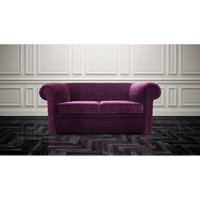 Designer Sofas 4 U - Chesterfield Hampton 2 Seater Settee Purple Aubergine Fabric Sofa