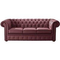 Designer Sofas 4 U - Chesterfield Handmade Leather Shelly Burgandy 3 Seater Sofa Settee