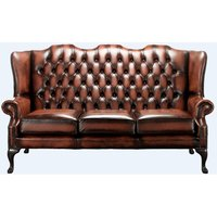 Chesterfield High Back Mallory 3 Seater Sofa Antique Light Rust Leather - DESIGNER SOFAS 4 U