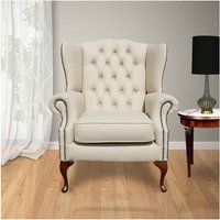 Designer Sofas 4 U - Chesterfield Highclere Flat Wing Queen Anne High Back Wing Chair UK Manufactured Cream Leather