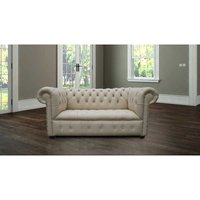 Designer Sofas 4 U - Chesterfield Kensington 2 Seater Settee Sofa Buttoned Seat Ivory Cottonseed Leather
