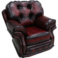 Chesterfield Knightsbridge 1 Seater Armchair Traditional Chair Antique Oxblood leather - DESIGNER SOFAS 4 U