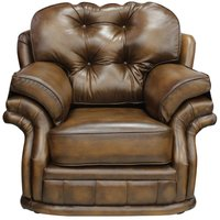 Chesterfield Knightsbridge 1 Seater Armchair Traditional Chesterfield Chair Antique Tan leather - DESIGNER SOFAS 4 U
