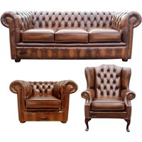 Chesterfield Leather 3 Seater + Mallory Wing Chair + Club Chair Sofa Offer Antique Tan - DESIGNER SOFAS 4 U