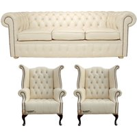 Chesterfield Leather 3 Seater Sofa Settee + 2 x Queen Anne Buttoned Wing Chairs Cottonseed Cream - DESIGNER SOFAS 4 U