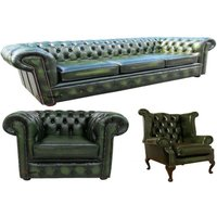 Designer Sofas 4 U - Chesterfield Leather 3 Seater / Wing Chair / Club Chair Sofa Offer Antique Green