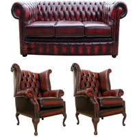 Designer Sofas 4 U - Chesterfield Leather 3 Seater / Wing Chair / Wing Chair Sofa Offer Antique Oxblood