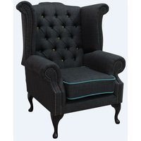 Designer Sofas 4 U - Chesterfield Linen Queen Anne High Back Wing Chair Charles Charcoal Blue Trim