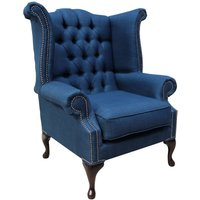 Chesterfield Linen Queen Anne High Back Wing Chair Charles Midnight Blue - DESIGNER SOFAS 4 U