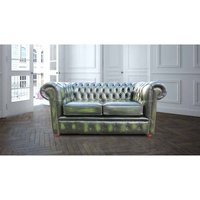 Designer Sofas 4 U - Chesterfield London 2 Seater Antique Green Leather Sofa Settee Offer