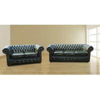Designer Sofas 4 U - Chesterfield London 3+2 Leather Sofa Suite Offer Antique Green