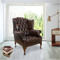 Designer Sofas 4 U - Chesterfield Mallory Buttoned Seat Flat Wing Queen Anne High Back Wing Chair UK Manufactured Antique Brown