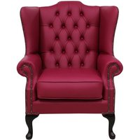 Designer Sofas 4 U - Chesterfield Mallory Flat Wing High Back Wing Chair Shelly Anemone Leather