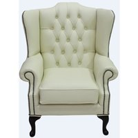 Designer Sofas 4 U - Chesterfield Mallory Flat Wing High Back Wing Chair Shelly Cream Leather