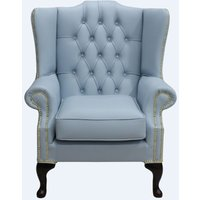 Chesterfield Mallory Flat Wing High Back Wing Chair Shelly Parlour Blue Leather - DESIGNER SOFAS 4 U
