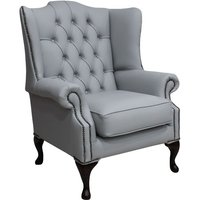 Designer Sofas 4 U - Chesterfield Mallory Flat Wing Queen Anne High Back Wing Chair Silver Grey Leather
