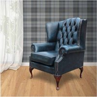 Chesterfield Mallory Flat Wing Queen Anne High Back Wing Chair UK Manufactured Antique Blue Leather - DESIGNER SOFAS 4 U