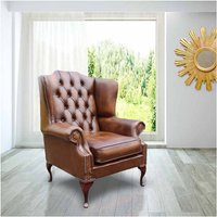 Chesterfield Mallory Flat Wing Queen Anne High Back Wing Chair UK Manufactured Antique Tan Leather