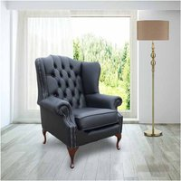 Designer Sofas 4 U - Chesterfield Mallory Flat Wing Queen Anne High Back Wing Chair UK Manufactured Black Leather