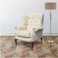 Designer Sofas 4 U - Chesterfield Mallory Flat Wing Queen Anne High Back Wing Chair UK Manufactured Cream Leather