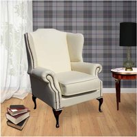 Designer Sofas 4 U - Chesterfield Mallory Saxon Flat Wing High Back Wing Chair UK Manufactured Cottonseed Cream Leather