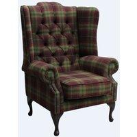 Designer Sofas 4 U - Chesterfield Mallory Wool Wing Chair Fireside High Back Armchair Threshfield Tourmaline Check Tweed