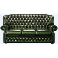 Chesterfield Monks 3 Seater Sofa Antique Green Leather - DESIGNER SOFAS 4 U