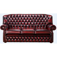 Chesterfield Monks 3 Seater Sofa Antique Oxblood Leather - DESIGNER SOFAS 4 U