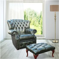 Chesterfield Monks High Back Wing Chair Antique Green UK Manufactured Armchair+Footstool - DESIGNER SOFAS 4 U