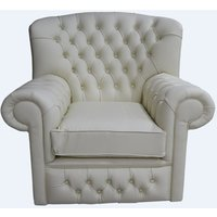 Chesterfield Monks Thomas High Back Wing Chair Cottonseed Cream Armchair - DESIGNER SOFAS 4 U