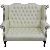 Designer Sofas 4 U - Chesterfield Newby 2 Seater Queen Anne High Back Wing Chair Sofa Cream Leather