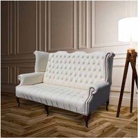 Designer Sofas 4 U - Chesterfield Newby 3 Seater Queen Anne High Back Wing Chair Sofa Cottonseed Cream Leather