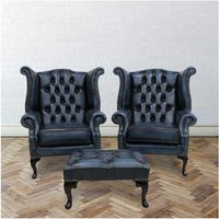 Designer Sofas 4 U - Chesterfield Offer Pair Queen Anne High Back Wing Chair Footstool Antique Blue Leather