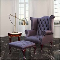Designer Sofas 4 U - Chesterfield Offer Queen Anne Buttoned High Back Black Wing Chair Footstool Dark Chocolate Leather