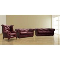 Designer Sofas 4 U - Chesterfield Old English Leather Suite offer 3 seater + 2 Seater + Wing Chair |DesignerSofas4U