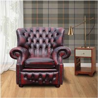 Designer Sofas 4 U - Chesterfield Oxblood Red Abbot High Back Wing Chair UK Manufactured Armchair