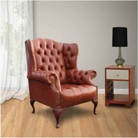 Designer Sofas 4 U - Chesterfield Oxford High Back Wing Chair UK Manufactured Old English Saddle