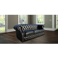 Designer Sofas 4 U - Chesterfield Oxley 3 Seater Black Leather Sofa Offer