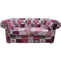 Chesterfield Patchwork Fiesta 2 Seater Settee fabric Sofa Offer - DESIGNER SOFAS 4 U