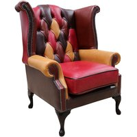 Designer Sofas 4 U - Chesterfield Patchwork Leather Wing Chair