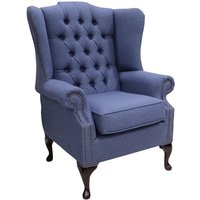 Chesterfield Princes Flat Wing Queen Anne High Back Wing Chair Calabria Navy