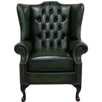 Chesterfield Princes Mallory Flat Wing Queen Anne High Back Wing Chair UK Manufactured Antique Green Leather