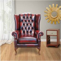 Designer Sofas 4 U - Chesterfield Princes Mallory Flat Wing Queen Anne High Back Wing Chair UK Manufactured Antique Oxblood