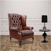 Chesterfield Princes Mallory Flat Wing Queen Anne High Back Wing Chair UK Manufactured Antique Tan Leather